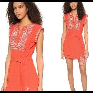 Free People embroidery wrap dress